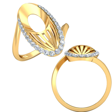 22KT Yellow Gold Kalapi Feather Ring For Women