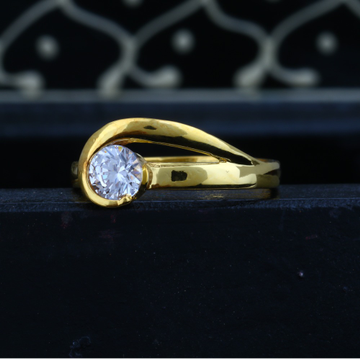 916 Plain Gold Solitaire Diamond Ring JJLR-012