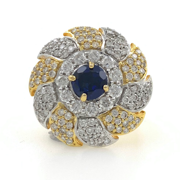 18kt / 750 yellow gold cocktail diamond ring with blue colour stone 5lr717