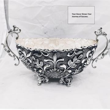 Puran deep carving silver fruit basket for Heirloo...