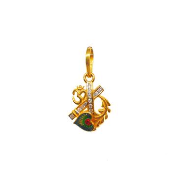 22K Gold Om Meenakari Pendant MGA - PDG0156