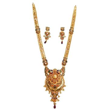 22k gold designer meenakari peacock necklace set mga -gls017