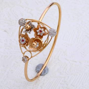 18CT Rose Gold Designer Ladies CZ Bracelet  Kada R...