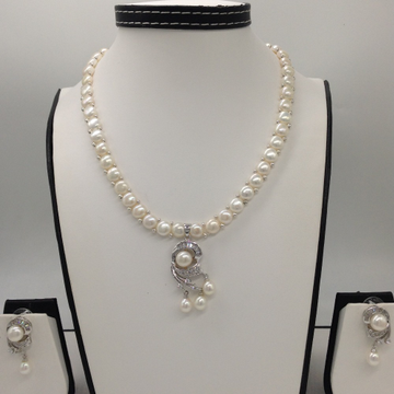 WhiteCZ And Pearls PendentSet With 1Line ButtonJali Pearls Mala JPS0407