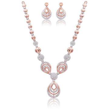 18k rose gold designer necklace set for wedding kv-ns430