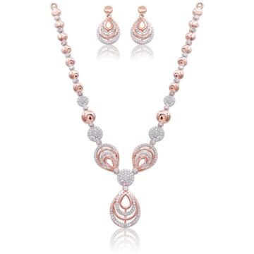 18k rose gold designer necklace set for wedding kv... by