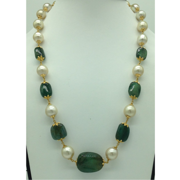 Cream South Sea Round Pearls With Emerald Oval Tumbles Gold Taar Necklace JGT0003