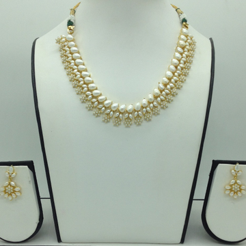 Freshwater White Button Pearls Necklace Set JNC0107