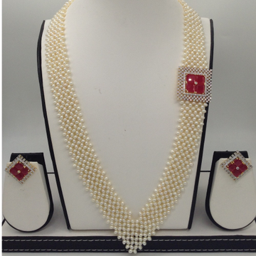 """White And RedCZ BroachSet With Seed""""V"""" Jali Pearls Mala JPS0371"""
