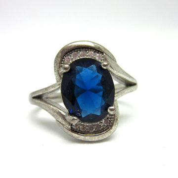 Silver 925 oval shape blue stone ring sr925-197