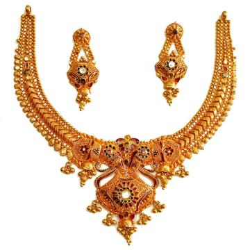 22k gold calcutti half necklace set mga - gn0047