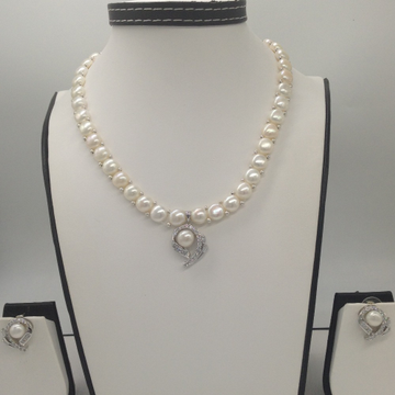 WhiteCZ And Pearls PendentSet With 1Line ButtonJali Pearls Mala JPS0414
