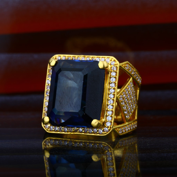 Mens Exclusive Blue Stone Gold Fancy Ring-MHR48