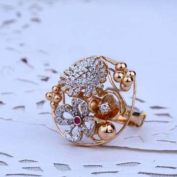 Ladies Rose Gold Cz 18K Ring-RLR36