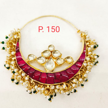 Gold tone Kundan & Ruby stone nose ring with hanging moti 1741