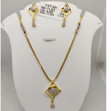 916 CZ Gold Necklace Set SOG-R057 by S. O. Gold Private Limited