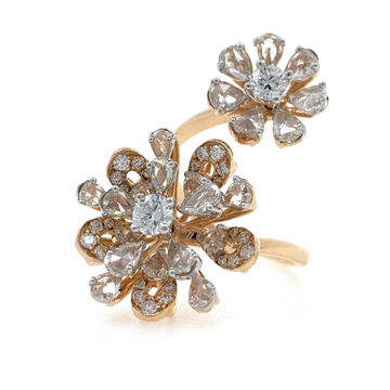 Dual Flower with Rosecut Diamonds Fancy Cocktail Party Ring in 18k Rose Gold - VVS EF - 2.32 carats - 7.530 grams - 0LR30