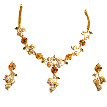 916 gold  Lightweight Flower Shaped Necklace Set MGA - GN062