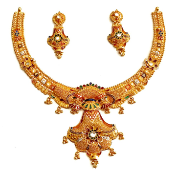 916 Gold Kalkatti Meenakari Rajwadi Necklace Set MGA - GN057