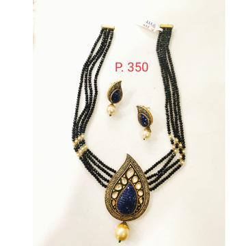 Black string with kundan and hanging white moti set 1372