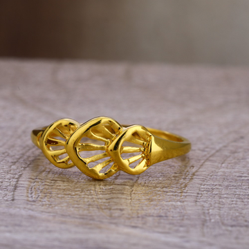 750 plain gold women's classic hallmark ring lpr469