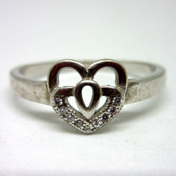 925 silver heart shape ring sr925-150