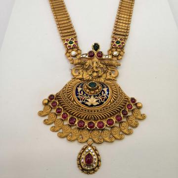 916 hallmark gold antique jadtar long set by Vinayak Gold