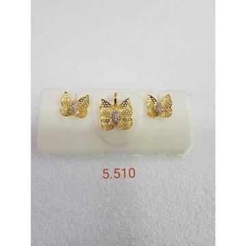 22KT gold jali pendant set NG-P003