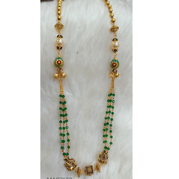 22 KT GREEN CRYSTAL ANTIQUE MALA by