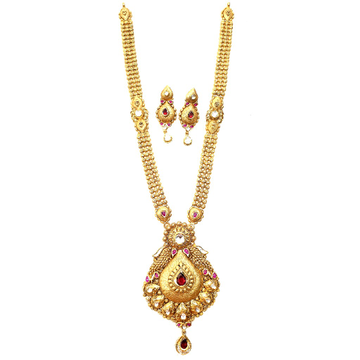 22k Gold Antique Long Necklace With Earrings MGA -...