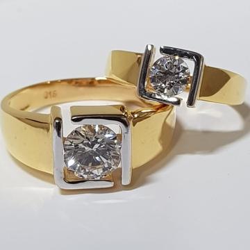 22 ct gold couple ring round diaomond in squre design
