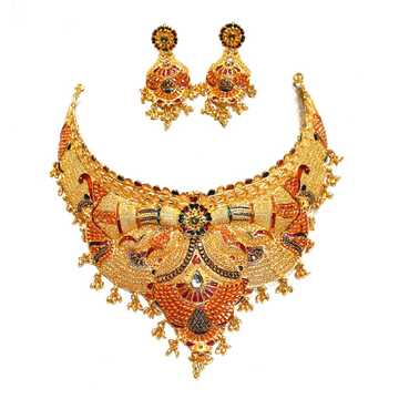 22k Gold Rajwadi Meenakari Choker Necklace Set MGA - GN083