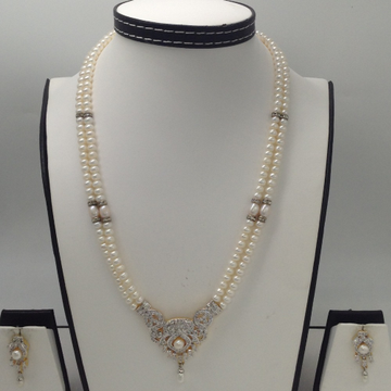 White CZ And Pearls PendentSet With 2 Line FlatPearls Mala JPS0276