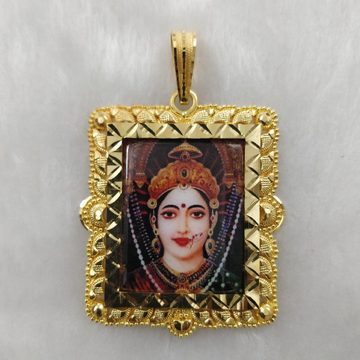 916 Gold Fancy Chehar Maa Photo Frame Pendant