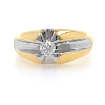 18kt / 750 yellow gold plain solitaire diamond ban...