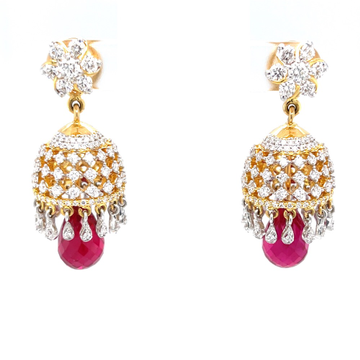Detachable diamond jhumkis with red stone 6top173