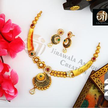 916 Gold Antique Bridal Necklace Set STG-0043
