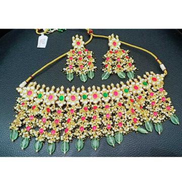 Beautiful Big Stone And And Small Stone's Combined Designer Colourful Pachi Kundans Bridal Necklace 1090