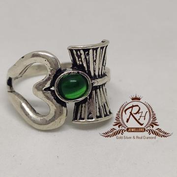 92.5 silver om_damru gents ring rh-Gr952