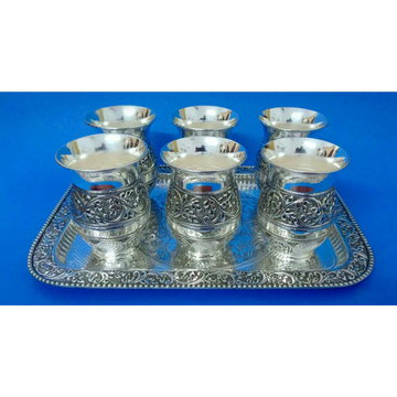 999 Rajkoti Utensils Oxodize Nakshi Tray With Glass Ms-3331
