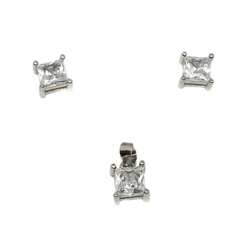 925 Sterling Silver Square Shaped Pendant Set MGA - PTS0071