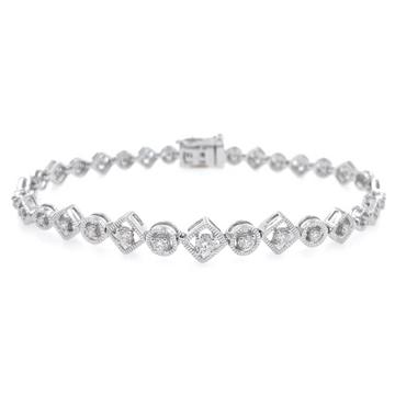 Square & Round Design diamond Tennis Bracelet in White Gold 9BRC37
