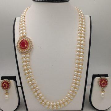 White And Red CZ BroachSet With 2Line ButtonJali Pearls Mala JPS0217