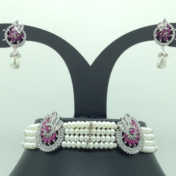 White And Red CZ  Choker Set With 4 Line White Pearls JPS0570