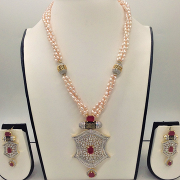 White and red cz pendentset with 4line pink ricepearls mala jps0338
