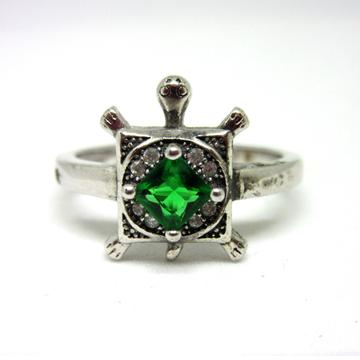 Silver 925 green stone tortoise ring sr925-52