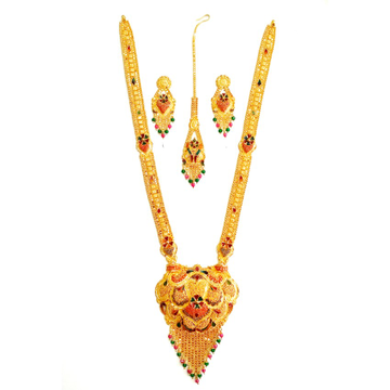 22k Gold Rajawadi Meenakari Flower Necklace Set MGA - GLS024