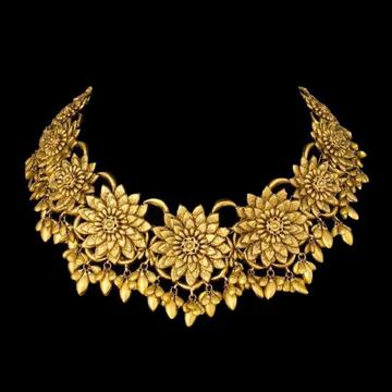 22KT Gold Light Weight Flowers Shaped Choker Set For Women