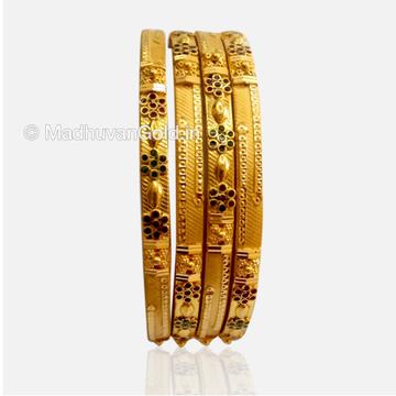 22K Gold Modern Kada Bangles 4 Set