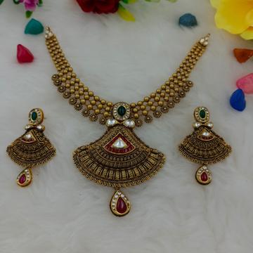 916 Gold Kundan Design Hallmark Necklace Set  by Ranka Jewellers